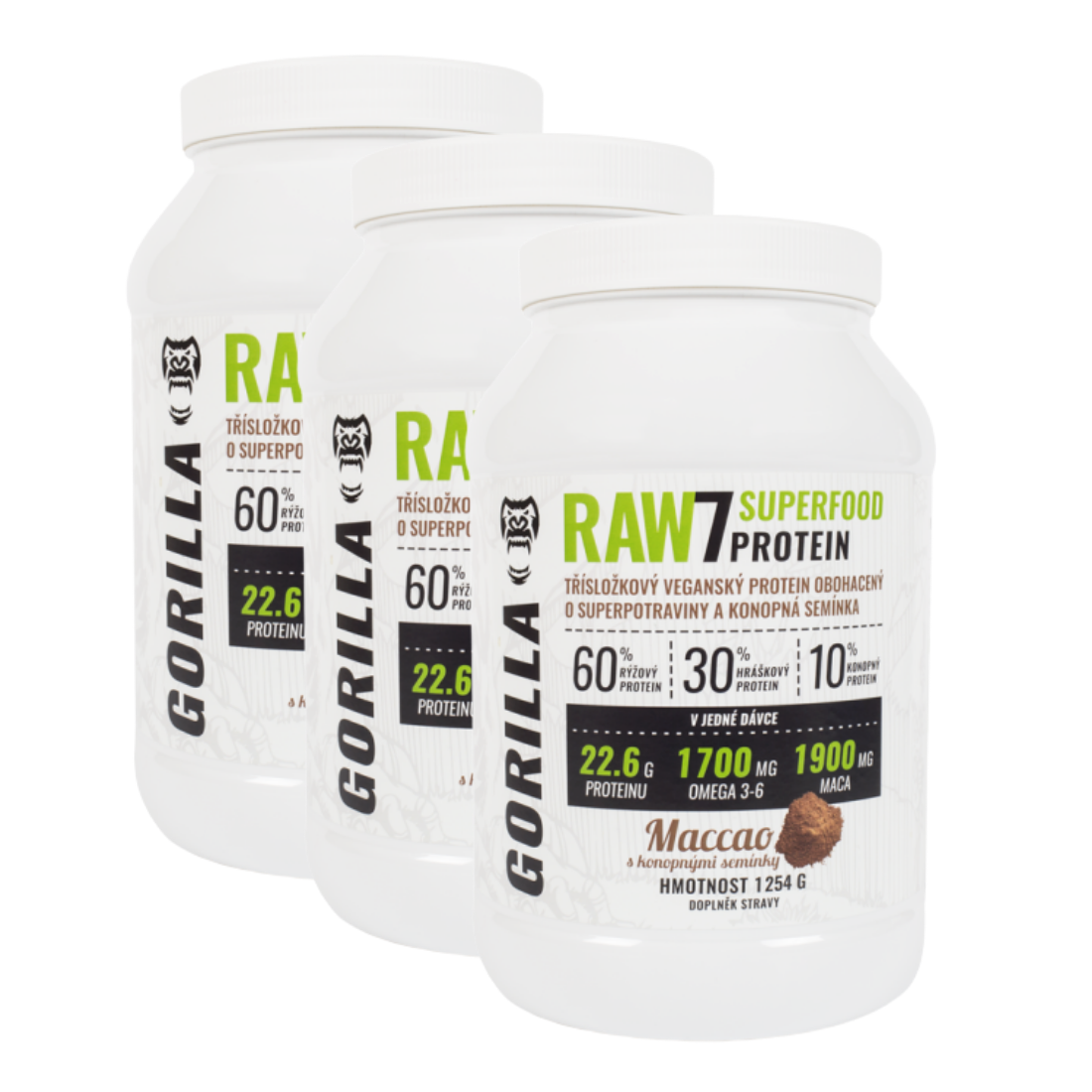 RAW7 SuperFood Protein 3x 1 254 g - rostlinný protein