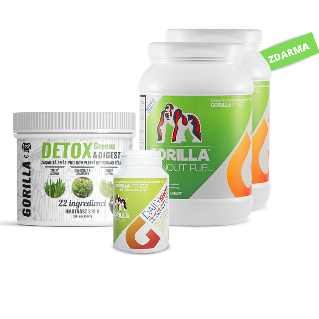 Detox balíček:  DETOX Greens & DIGEST 310 g, DailySHOT (60tb), Burnout Fuel 1+1